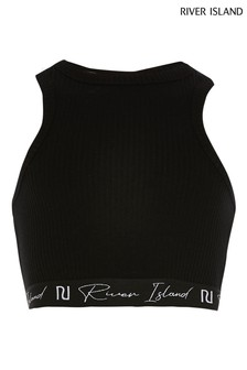 River Island Black Racer Rib Crop Top