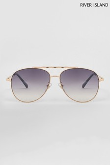 River Island Gold Monroe Twisted Brow Bar Aviator Style Sunglasses