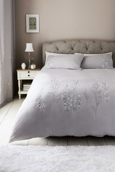 Embroidered Blossom Duvet Cover And Pillowcase Set
