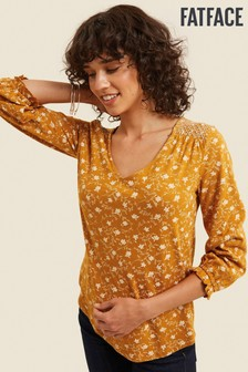 FatFace Yellow Ava Trellis Floral Top