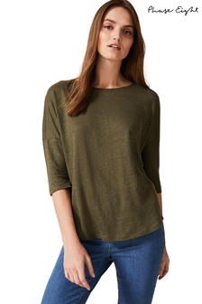 Phase Eight Green Linen Catrina Top