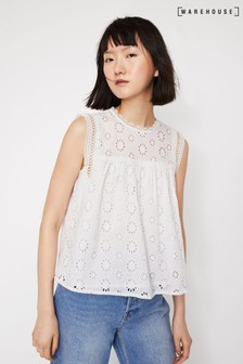 Warehouse Broderie Shell Top