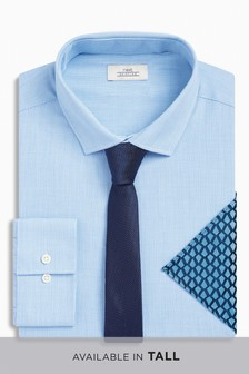Shirt With Tie And Pocket Square Set