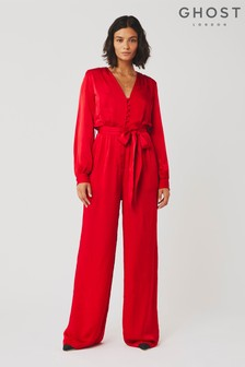 Ghost London Red Poppy Satin Jumpsuit