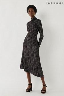 Warehouse Black And Gold Stripe Midi Dress