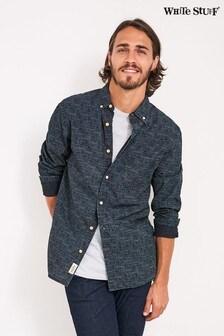 White Stuff Blue Batik Spot Indigo Print Shirt