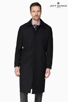Jeff Banks Black Roma Men's Black Overcoat