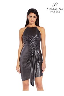 Adrianna Papell Black Metallic Jersey Dress