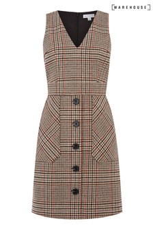 Warehouse Black Check Mini Pinafore Dress