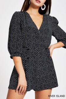 River Island Black Spot Darcey Playsuit
