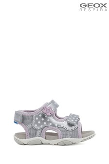 Geox Baby Girl's Agasim Silver Sandals