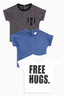 Hugs Slogan T-Shirts Three Pack (0mths-2yrs)