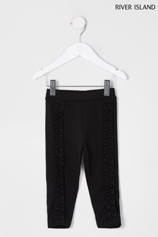 River Island Black Frill Front Leggings