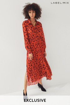 Next/Mix Floral Print Pleated Shirt Dress