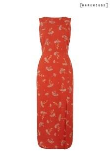 Warehouse Red Dandelion Print Midi Dress