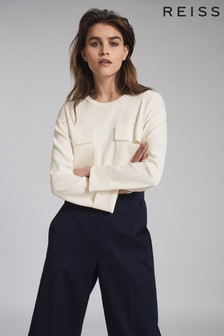 Reiss Cream Tilly Knitted Twin Pocket Top