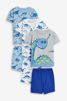 3 Pack Dinosaur Spikes Short Pyjamas (9mths-8yrs)