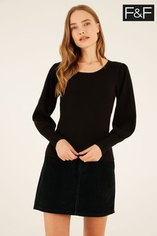F&F Black Izzy Scoop Neck Volume Sleeve Jumper