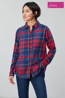 Joules Lorena Longline Brushed Woven Shirt