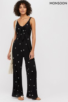 Monsoon Ladies Black Paloma Jersey Palm Embroidered Jumpsuit
