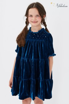Velveteen Blue Millie Velvet Tiered Dress