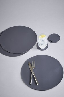 Set of 4 Round Faux Leather Placemats And Coasters
