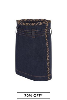 Girls Blue Cotton Denim Skirt