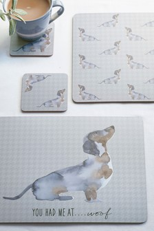 Set of 4 Sausage Dog Placemats And Coasters