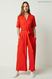 French Connection Enzo Drape Belted Jumpsuit