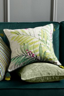 Botanical Embroidery Leaf Cushion