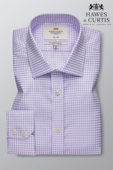 Hawes and Curtis White Slim Fit Grid Check Single Cuff Shirt
