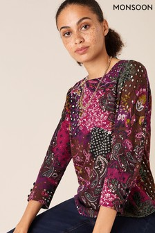Monsoon Pink Patch Print Sustainble Long Sleeve Top