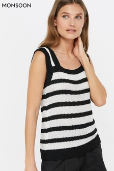 Monsoon Ladies Black Sienna Stitch Stripe Vest