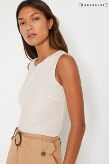 Warehouse Cream Satin Tipped Shell Blouse