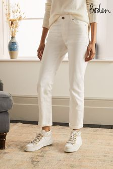 Boden White Slim Straight Jeans
