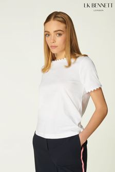 L.K.Bennett White Dee Scallop Ric Rac Cotton T-Shirt