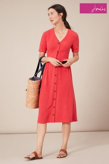 Joules Red Jessica Short Sleeve Dress With Patch Pockets