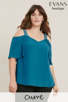Evans Curve Teal Sparkle Cold Shoulder Top