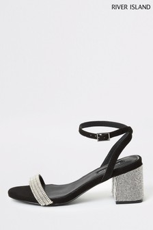 River Island Black Trey Block Heel Sandals