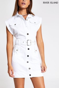 River Island White Rosie Belted Dress