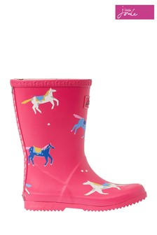 Joules Pink Junior Girls Roll Up Wellies