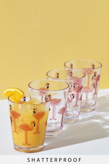 Set of 4 Flamingo Print Tumbler Glasses