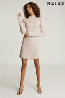 Reiss Pink Zoe Knitted Mini Dress
