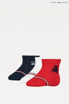 Tommy Hilfiger Red 3 Pack Newborn Sock Gift Pack
