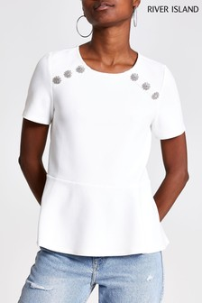 River Island White Button Peplum Top