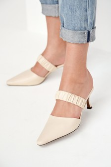Signature Leather Ruched Mules