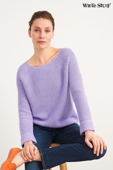 White Stuff Purple Orla Organic Ribbed Sweater
