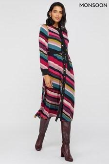 Monsoon Multi Sonique Stripe Print Midi Dress