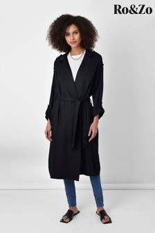 Ro&Zo Black Tencel™ Trench Coat