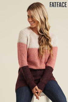 FatFace Pink Primrose Colourblock Jumper